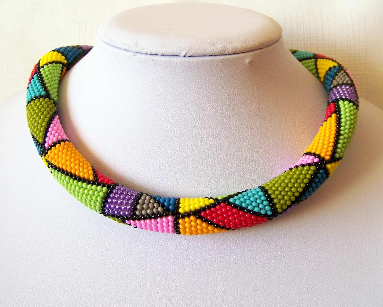 Colorful Bright Geometric necklace Bead crochet rope by lutita