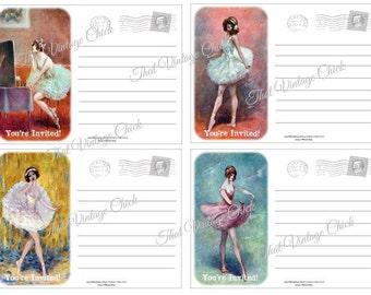 "PRINTABLE POSTCARD INVITATIONS - Watercolour ""Ballerina "" - Customize Print High Tea Bridal Tea Baby Shower Invitations"