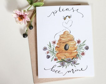 Please Bee Mine - greeting card