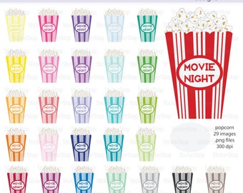 Movie Night Popcorn Box Digital Clipart - Instant download PNG files