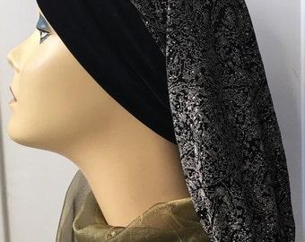 Glitzy Black silver turban snood hijab with silver glitter SALE!