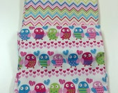 Destash Clearance Fabric - Easter Valentine Owl Chevron Fabric - Lot of 2 Pieces