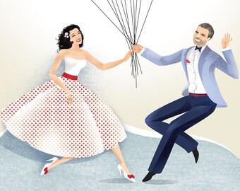 Bride and Groom Guestbook, Swing Wedding book, Thumbprint Baloons, Wedding fingerprint guestbook, Wedding Customized Gift, PDF