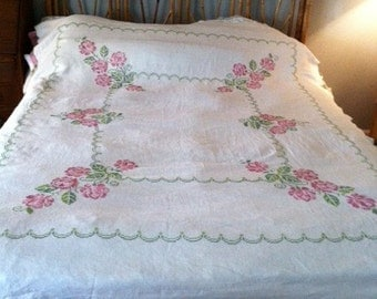 Rose Cross Stitch Light Weight Bedspread