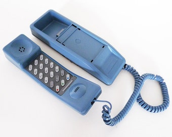 Blue Push Button Phone / 80s Telephone