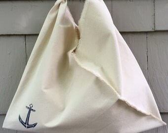 Nautical Style Origami Tote Bag