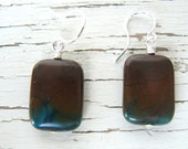 Reserved for Lynette - Brown and Turquoise Earrings, Gemstone Earrings, Rectangle Dangles, Imperial Agate Stone Drops, Rustic Boho Jewelry
