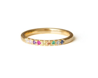 Pave Stacking ring, Thin Gemstone Ring, colorful Inlaid Ring, Jewel Encrusted Ring, Gold Filled OR Sterling Silver Ring, Stackable Ring
