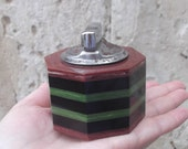 RESERVED for Y BIG SALE Vintage Catalin Table Lighter, Multicolor Striped Catalin Octagonal Table Lighter, Cigarette Table Lighter