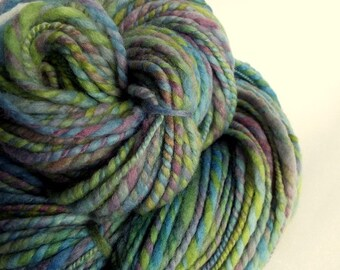 Thick blue yarn, with green and purple, handspun wool, merino yarn, knitting yarn / wool, thick bulky yarn