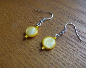 yellow dangle earrings, ecofriendly beaded earrings