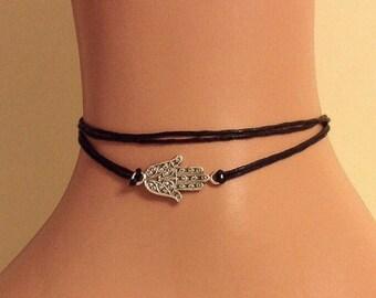 Wrap Hamsa Hand Anklet, Bracelet, Black String Anklet with Hamsa Hand Charm, Dainty Bracelet, Gift for Her, Mutiwrap Bracelet, Hand of Fatma