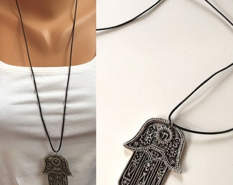 Antique Silver Hamsa Hand Necklace, Khamsa Necklace,Boho jewelry,Long Necklace,Protection pendant,Sacred symbol,Kaballah,Silver Jewelry
