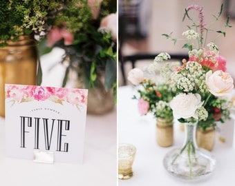 Watercolor Table Number, Peony Table Number, Wedding Table Number