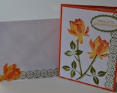 Hand stamped all occasion card, orange lotus blossom