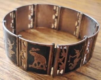 Vintage Siam Silver Niello Cuff Bracelet