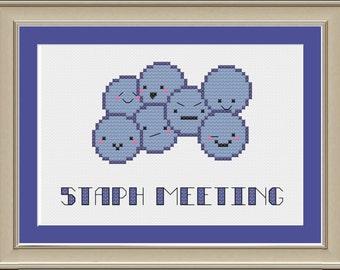 Staph meeting: nerdy bacteria cross-stitch pattern