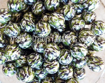 12mm Green Camo Beads   -  Chunky Necklaces - Set of 10 - Green Camo, Army, Military, Hunting