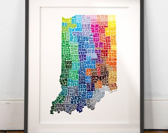Indiana art print, Indiana map art, Indiana typography map, map of Indiana, Indiana cities map art, choose color & size