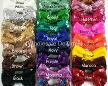 "Sequin Bows - 3 inches - Shimmery Bows - You Choose Color and Quantity - 3"" Pink, Gold, Silver, Red, Black, White, Teal, Brook Green, & More"