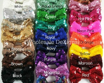 """Sequin Bows - 3 inches - Shimmery Bows - You Choose Color and Quantity - 3"""" Pink, Gold, Silver, Red, Black, White, Teal, Brook Green, & More"""