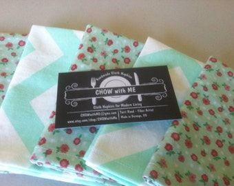 Kids Cloth Napkins School Lunch Box, Set of 5, Shades of Aqua, by CHOW with ME
