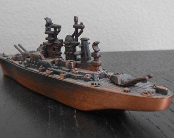 Vintage Copper Battleship Destroyer Navy Ship Pencil Sharpner