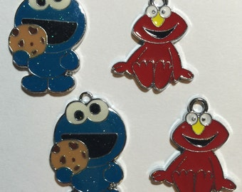Cookie Monster & Elmo Charms