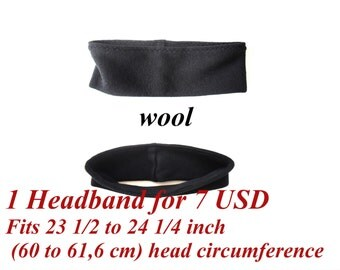 clearance sale, wide wool headband for adult or children, fit 23 1/2 to 24 1/4 inches (60 - 61,6 cm) head circumference