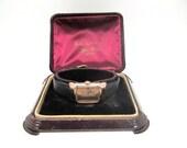 Vintage 1940s Mens Bulova Squadron wrist watch 14kt rose g.f. original case