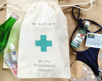 Customizable text oh shit kit hangover bag- Bachelorette Party Favor- wedding favor- bachelorette hangover kit- bridal gift- bridesmaid gift