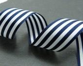 Navy Blue And White Stripe Ribbon 16mm Berisfords