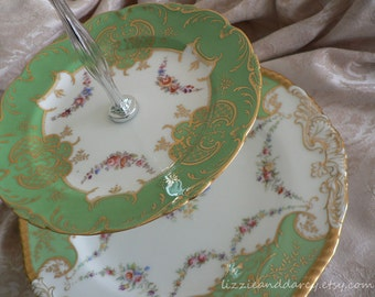 2-Tier Vintage China Green Gold Floral Swag Tea Cake Stand Cupcake Server