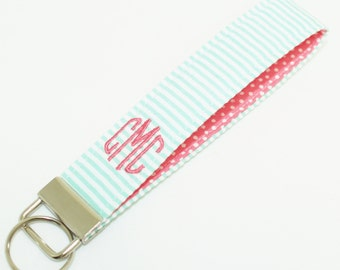 Monogrammed Seersucker Key Fob- Wristlet Key Chain in Choice of Colors - Confetti Dot Interior - Embroidered