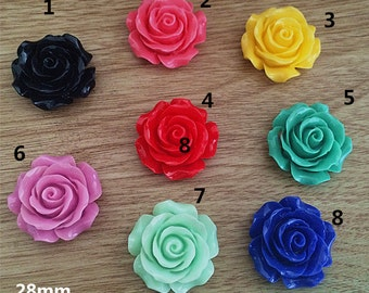 16pcs 28mm  Mixed color resin flower