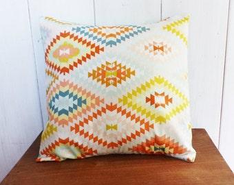 Cushion cover 40 x 40 fabrics IKAT pink, yellow, blue, rust
