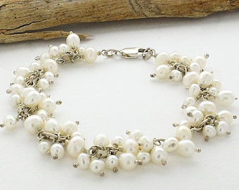 Sterling Silver Freshwater Pearl Cluster Bracelet, Sterling silver Bracelet, Mother's Day Gift, Wedding Bridal Jewelry, Bridal Bracelet,
