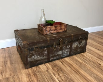 Antique Chest ~ Vintage Trunk ~ Low Coffee Table ~ Storage Chest Trunk ~ Vintage Home Decor ~ Industrial Decor ~ Steamer Trunk