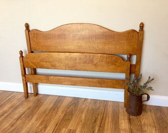 Three Quarter Bed - Curly Maple - Wooden Bed - Small Double Bed - Wooden Headboard - Real Wood Furniture
