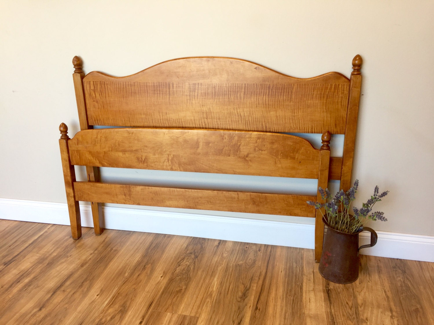 Three Quarter Bed Curly Maple Wooden Bed Small Double