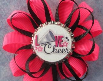 Cheerleader Themed Bottlecap Hair Bow