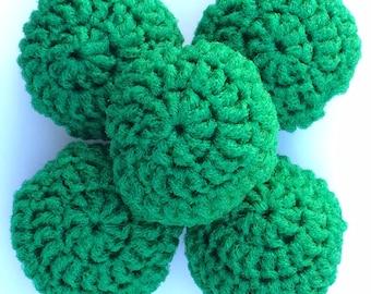 Nylon Net Scrubbies Set of 5  Green Scrubbers