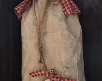 Primitive Prairie Doll with rust and caramel dress