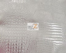 Metallic African Crocodile Embossed Vinyl Fabric - SILVER/SILVER - Sold By The Yard Upholstery 2 Tone Faux Fake Leather