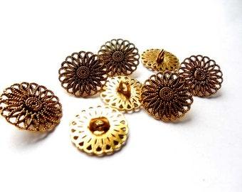 8 Antique Gold Filigree Flower Buttons - 21-38-11