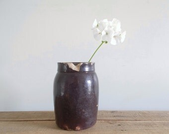 Small Brown Salt Glazed Stoneware Crock Pickle Jar