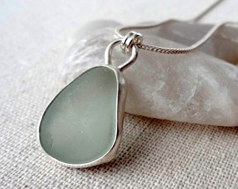 Soft Aqua Blue Sea Glass Pendant - Natural Sea Glass, Genuine Sea Glass - Sea Glass Necklace, Sea Glass Jewelry