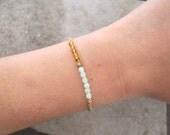 Charm Bracelet-Czech Glass Bracelet-Beaded Jewelry-Personalized Bracelet-Initial Charm Bracelet-Delicate Jewelry-Dainty Bracelet-Free Ship