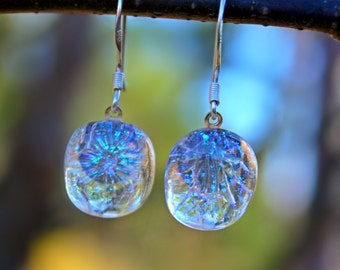 Clear dichroic glass earrings with sterling silver hooks
