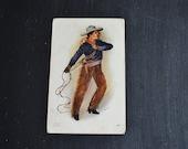 Vintage Cowboy Souvenir Postcard ~ Cowboy and Lasso ~ 1907 Postcard ~ White City Art Co. Signed Postcard